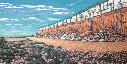 Louise Stebbing: Hunstanton Cliffs linocut